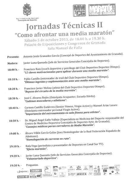 Programa II Jornadas Técnicas Medio Maratón de Granada 5 octubre 2013