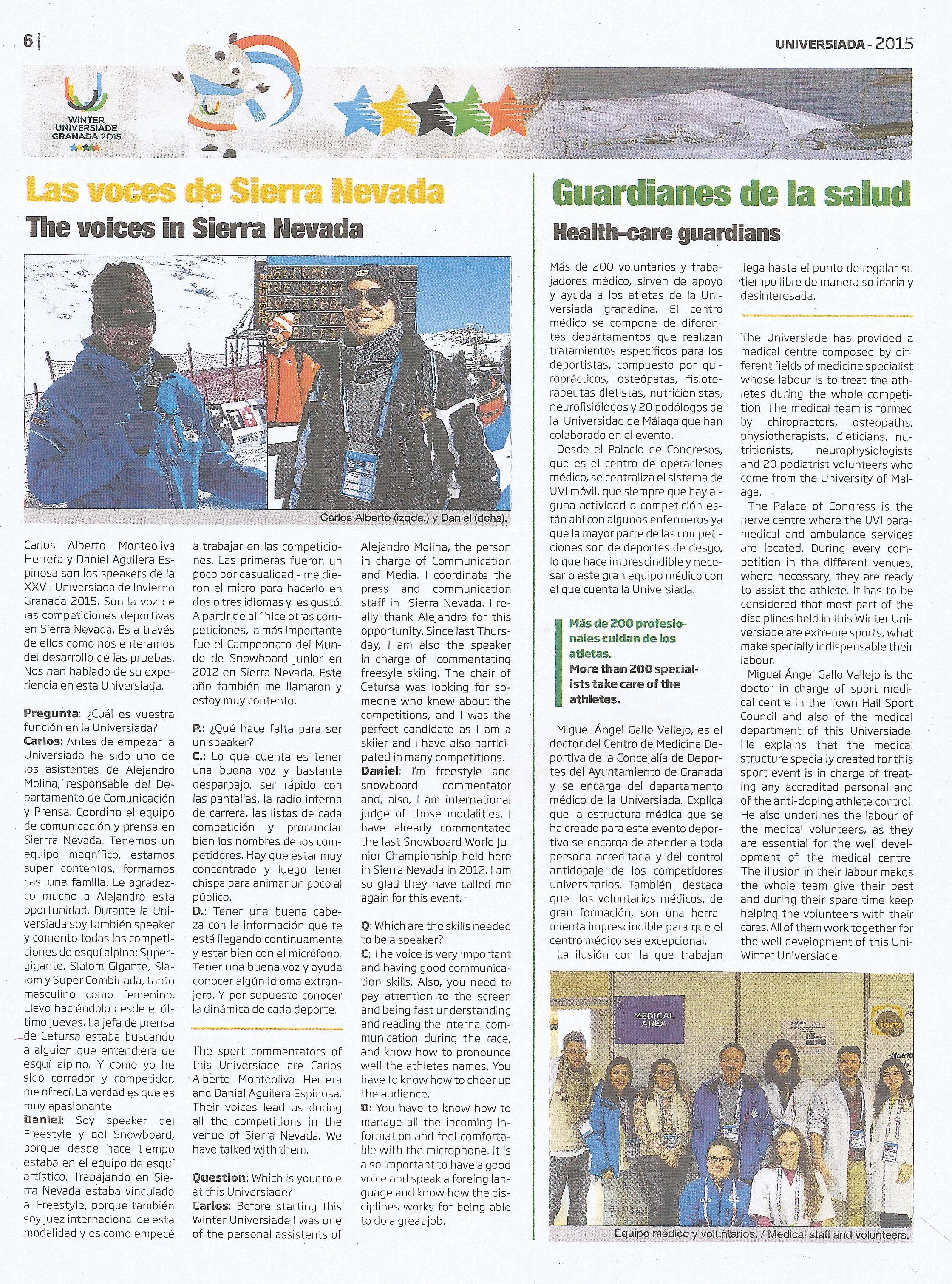 Diario Oficial de la  Universiada de Invierno Granada 2015 14 febrero 2015